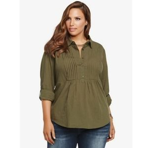 Torrid Pintuck Olive Green Empire Blouse Size 3x